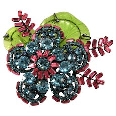 "Lawrence Vrba HUGE 4.25"" Flower Brooch Pin Rhinestones with Glass Leaves"