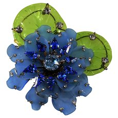 "Lawrence Vrba HUGE 4.5"" Blue Flower Brooch Pin Rhinestones with Glass Leaves"