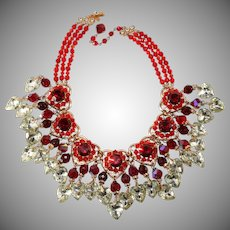 Lawrence Vrba Red Heart Statement Necklace with Dangles