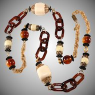 Lawrence Vrba LONG Simulated Ivory and Tortoiseshell Bead Necklace