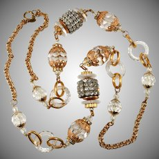 Lawrence Vrba LONG Bead Necklace with Lucite and Rhinestones