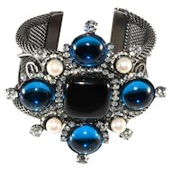 Lawrence Vrba Rhinestone Statement Cuff Bracelet Maltese Cross Blue Black