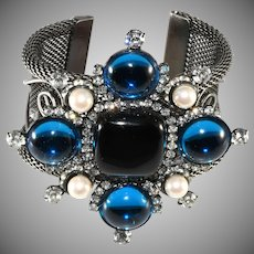 Lawrence Vrba Rhinestone Statement Cuff Bracelet Maltese Cross Blue Black