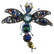 "Lawrence Vrba HUGE 4.75"" Multicolor Rhinestone Dragonfly Brooch Pin"
