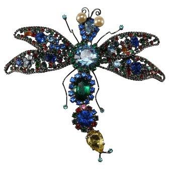 "Lawrence Vrba HUGE 4.75"" Multicolor Rhinestone Dragonfly Brooch Pin"