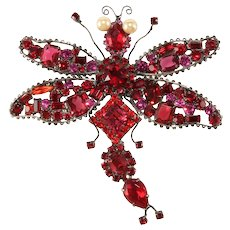 "Lawrence Vrba HUGE 4.75"" Red Rhinestone Dragonfly Brooch Pin"