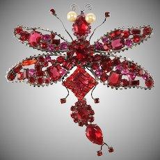 "Lawrence Vrba HUGE 4.75"" Red Rhinestone Dragonfly Brooch Pin"