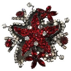 "Lawrence Vrba HUGE 3.75"" Red Starfish Brooch Pin"