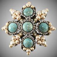 Lawrence Vrba 3.75 Inch Turquoise Cabochon Rhinestone Brooch Pin