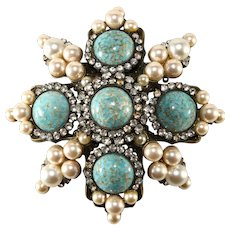 Lawrence Vrba 3.75 Inch Turquoise Cabochon Rhinestone Brooch Pin