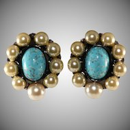 Lawrence Vrba Faux Pearl and Turquoise Cabochons Earrings