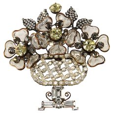"Lawrence Vrba HUGE 4"" Vase Brooch Pin Rhinestones with Glass Flowers"