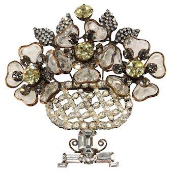 """Lawrence Vrba HUGE 4"""" Vase Brooch Pin Rhinestones with Glass Flowers"""
