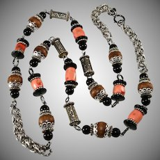 Lawrence Vrba LONG Natural Coral and Wood Bead Necklace