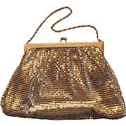 Whiting Davis Gold Mesh with Rhinestones Evening Bag Purse 1930s