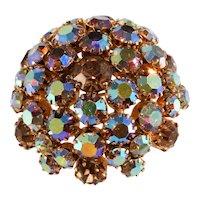 Warner Brooch Domed Aurora Borealis Rhinestones Vintage