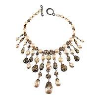 Waterfall Bib Necklace Faux Pearls Rhinestone Balls Vintage