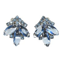 Weiss Earrings Blue Rhinestones Vintage 1950s