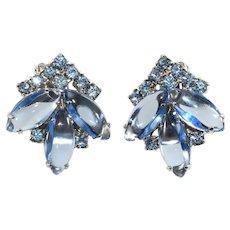 Weiss Earrings Blue Rhinestones Vintage 1950s