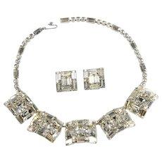 Weiss Necklace Earrings Set Clear Rhinestones Vintage Demi Parure