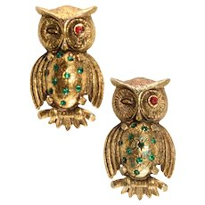 Weiss Pins Set Owls Winking Eyes Rhinestones Vintage Brooch