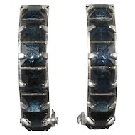 Weiss Sapphire Blue Rhinestone Wedding Band Hoops Earrings