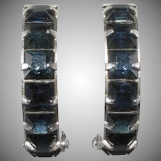 Weiss Sapphire Blue Rhinestone Wedding Band Hoops Earrings