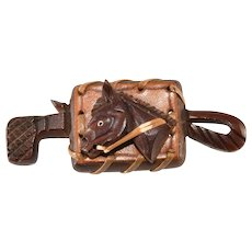 1940s Carved Wood and Leather Horse with Crop Brooch Pin