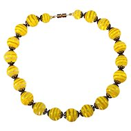 Yellow Striped Art Glass Beads Necklace Vintage