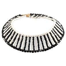 DeLillo Black White Beaded Collar Necklace with Rhinestone Clasp De Lillo Vintage