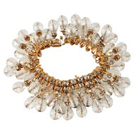 DeLillo Crystal Dangle Bracelet with Clear Rhinestones De Lillo