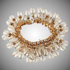 DeLillo Crystal Dangle Bracelet with Clear Rhinestones De Lillo