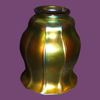 STEUBEN Gold Aurene Ribbed Art Glass Shade