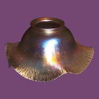 QUEZAL (pr.) Iridescent Ruffled Variegated Gold Art Glass Shades