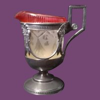 Cut Glass and silver plated metal Victorian Cream Pitcher, circa 1880's