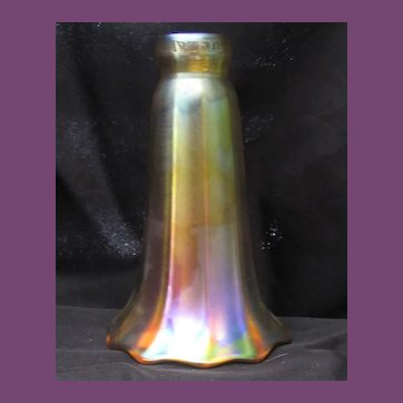 QUEZAL Gold Iridescent Ribbed Lily Art Glass Lamp Shade