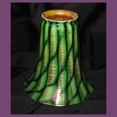 Fine & Very RARE Steuben Decorated Green Art Glass Shade / Signed