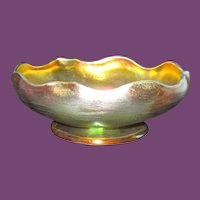 LOVELY TIFFANY Gold Iridescent Favrile Glass Small Footed Bowl; circa 1910 - 1918