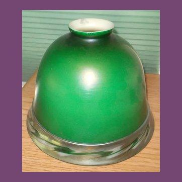 Scarce STEUBEN Green Aurene Helmet Shade with Applied Intarsia Border