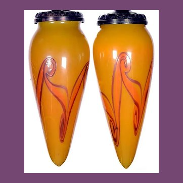 A Pair of FINE, Early and Very Rare YellowTIFFANY Decorated FAVRILE Glass STALACTITE Shades