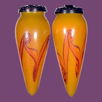 A Pair of FINE, Early and Very Rare  Yellow TIFFANY Decorated FAVRILE Glass STALACTITE Shades