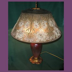 "Rare and Unusual Tiffany (Studios) Furnaces FAVRILE Glass Bronze, and Enamel""Queen Anne's Lace"" Table Lamp"