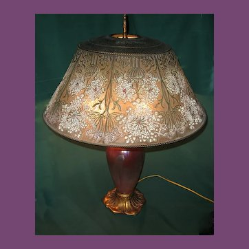"""Rare and Unusual Tiffany (Studios) Furnaces FAVRILE Glass Bronze, and Enamel""""Queen Anne's Lace"""" Table Lamp"""