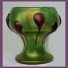 RARE Loetz Creta Green Glatt Vase with Ruby Red Cobra Prunts