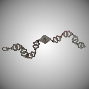 10k White Gold Edwardian Era Camphor Glass Bracelet