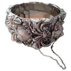 Whiting-Davis Thistle Silvertone Repousse Cuff Bracelet