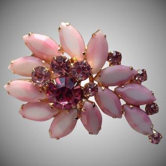 Stunning Juliana Style Chalk Pink Rhinestone Brooch