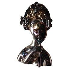 Sergio Bustamante Geisha Mask Sterling Silver Brooch