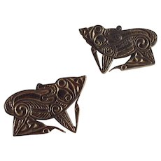 Set of Two Vintage Stieff Pewter Irish Viking Wolf Pins/Brooches MMA 1977