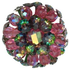 Pink and Green Glass Margarita Bead Brooch by Vendome